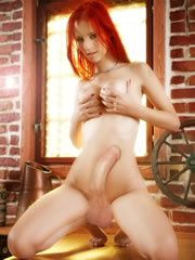 redhead futanari dickgirl in the sex scene