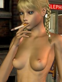 this young prostitute is not knows how to smoke, but trying to do it